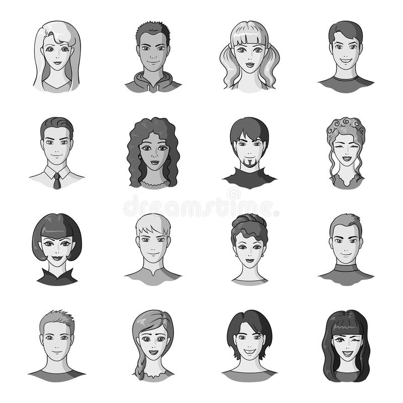 Set of different avatars girls and men. Avatar and face icon in set collection on monochrome style vector symbol stock. Web illustration royalty free illustration