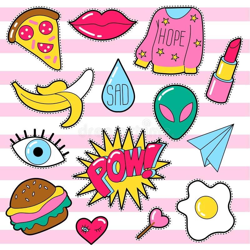 Set of different badges. Fashion patches, stickers, pins and signs with heart, lips, eye, speech bubbles in 80s 90s style isolated on white background vector illustration