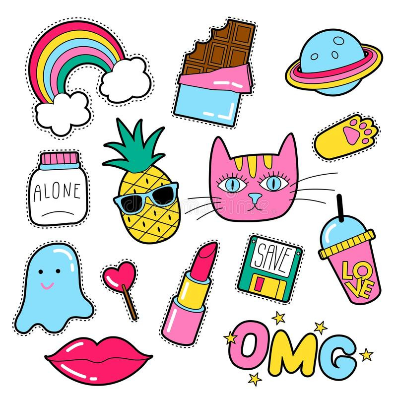 Set of different badges. Fashion patches, stickers, pins and signs with heart, lips, rainbow, cat, lipstick in 80s 90s style isolated on white background royalty free illustration