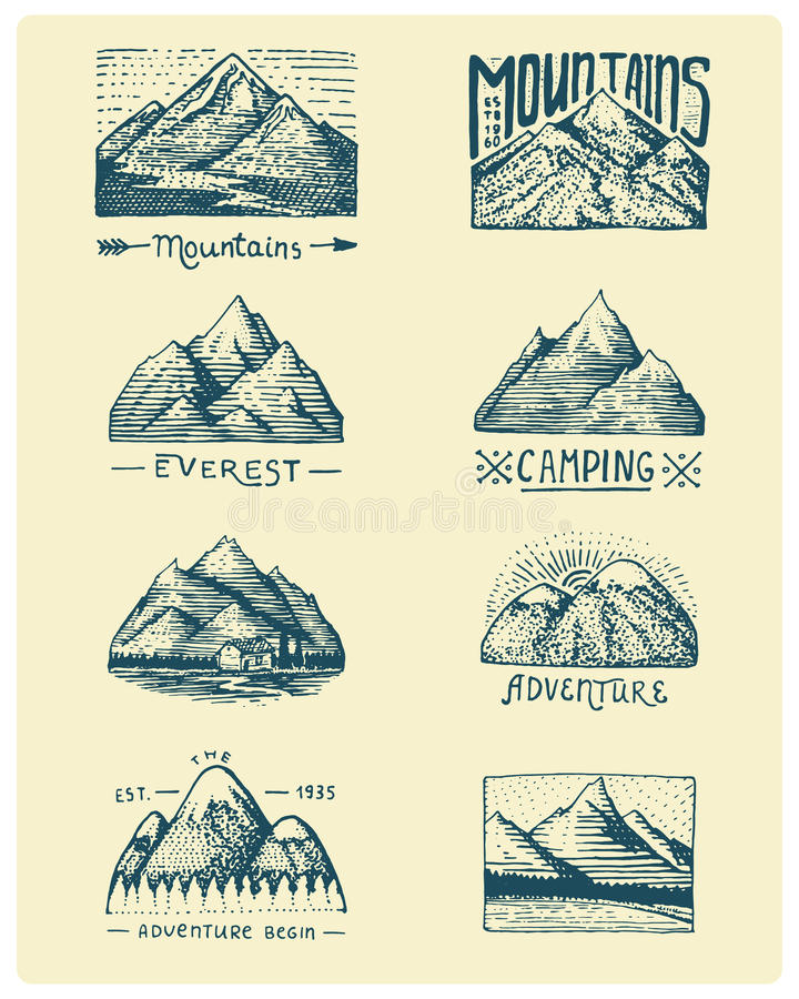 Set of 8 different badges with mountains, engraved, hand drawn or sketch style include logos for camping, hiking vector illustration