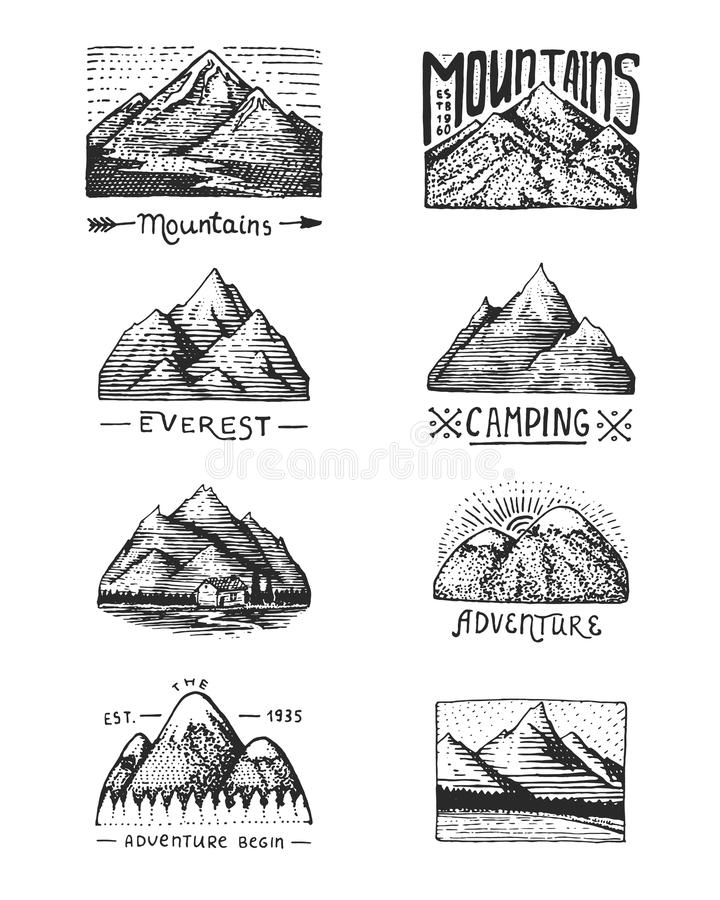 Set Of 8 Different Badges With Mountains, Engraved, Hand
