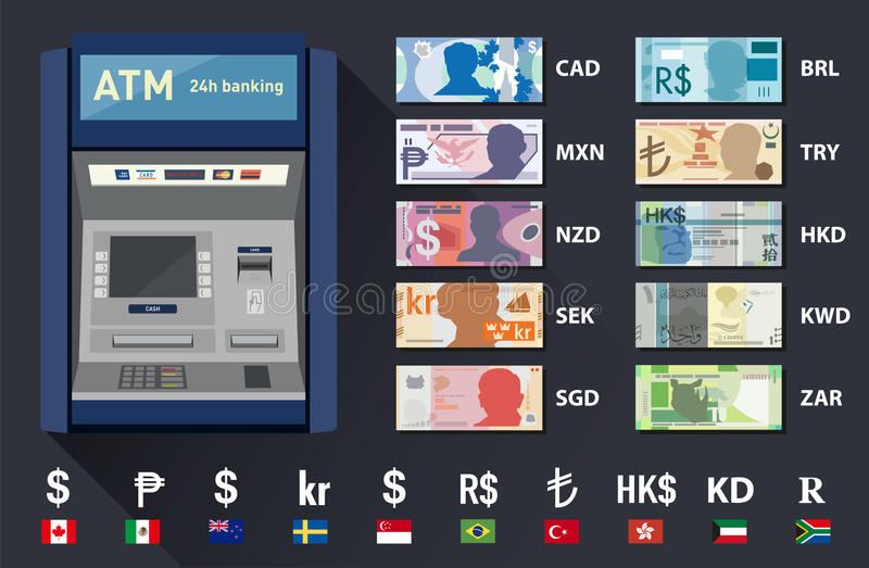 Set of different banknote currencies. Illustrated set of different banknote currencies and tan machine royalty free illustration