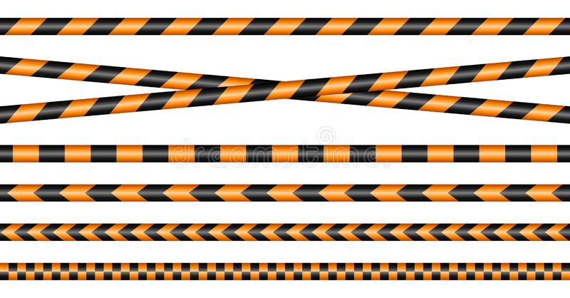 Set Of Different Barrier Tapes Black And Orange stock illustration