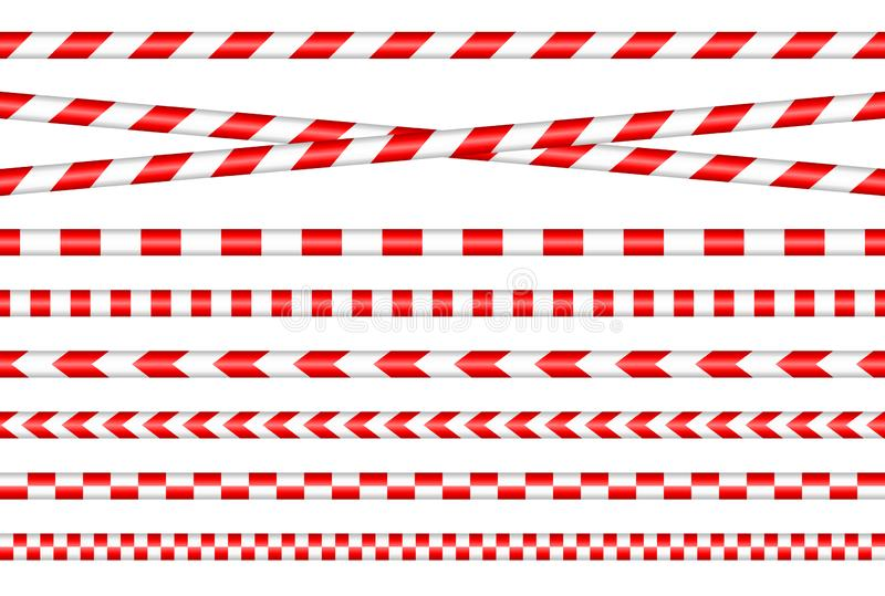 Set Of Different Barrier Tapes Red And White. Collection Of Different Barrier Tapes Red And White vector illustration