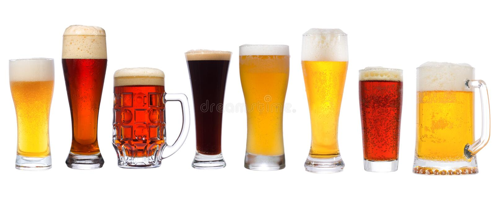 Set with different beer stock photo