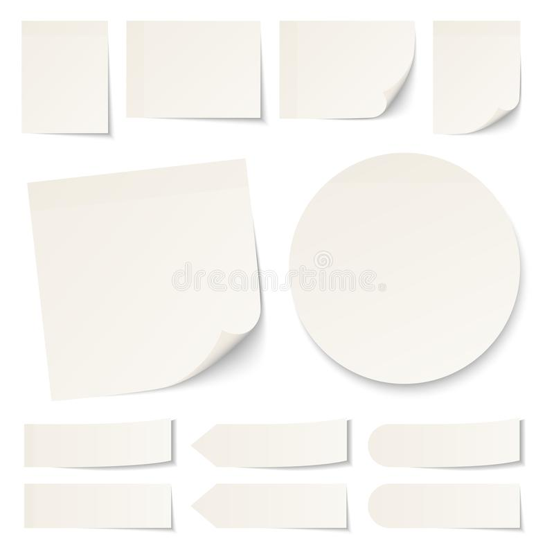 Set Of Different Beige Sticky Notes Round With Shadow vector illustration