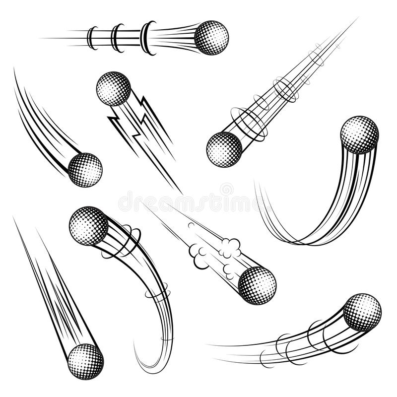 Golf symbols movement set vector illustration