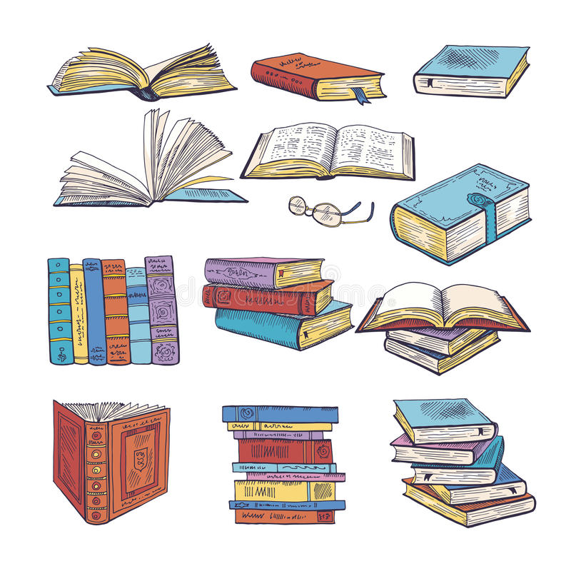 Set of different books. Encyclopedia, dictionary and others. Doodle vectors illustration. Book encyclopedia and paper dictionary book royalty free illustration