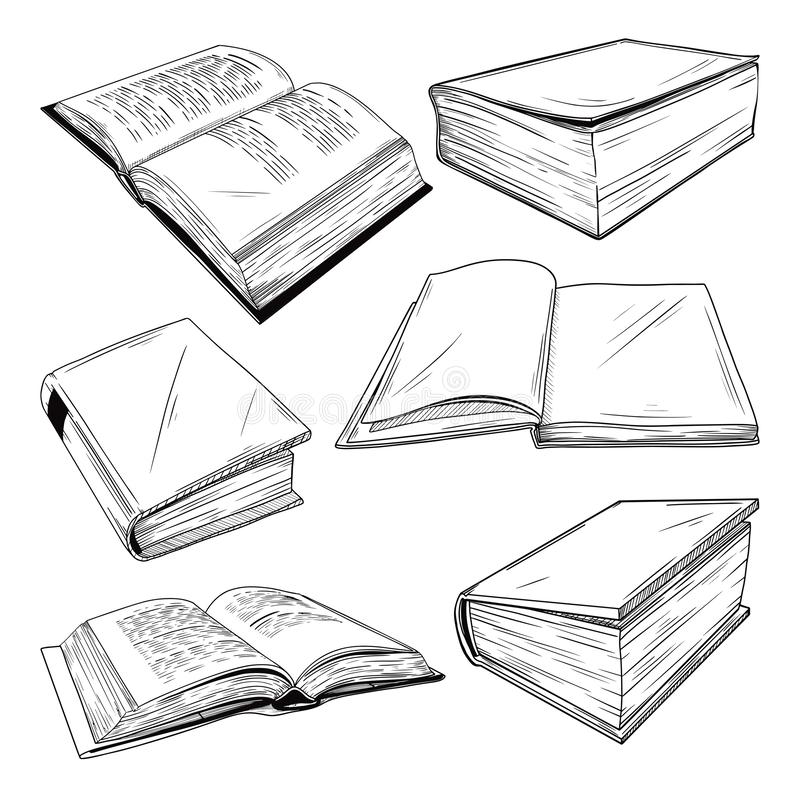 Set of different books on a white background. Vector illustration. In sketch style royalty free stock photography