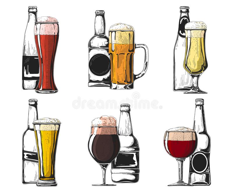 Set of different bottles and glasses of beer. Color sketch. Vector stock photo