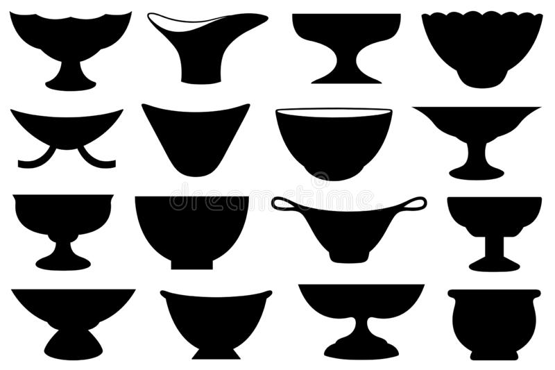 Set of different bowls. Isolated on white vector illustration
