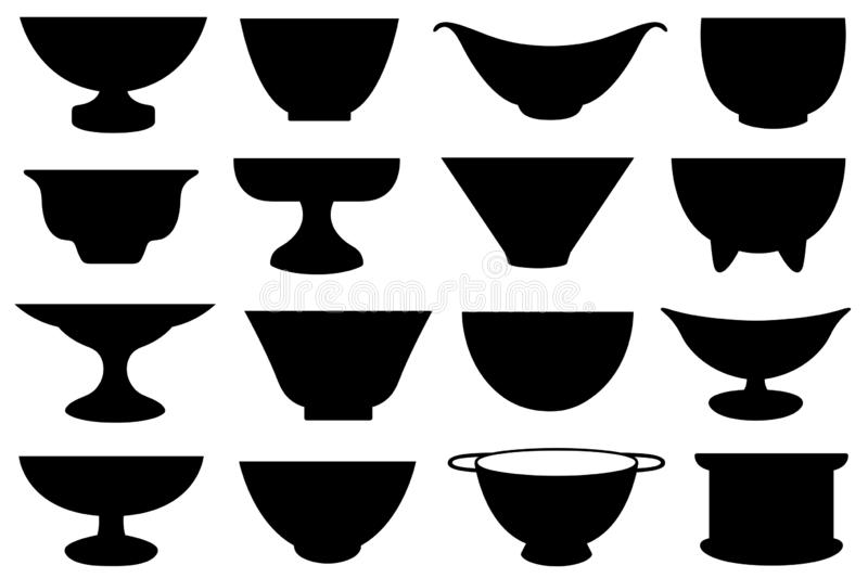 Set of different bowls. Isolated on white stock illustration