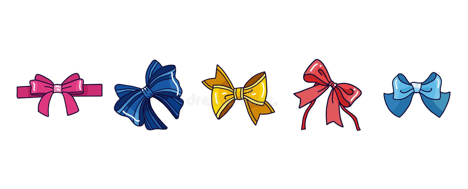 Set of different bows and ribbon knots. Hand drawn isolated royalty free stock images