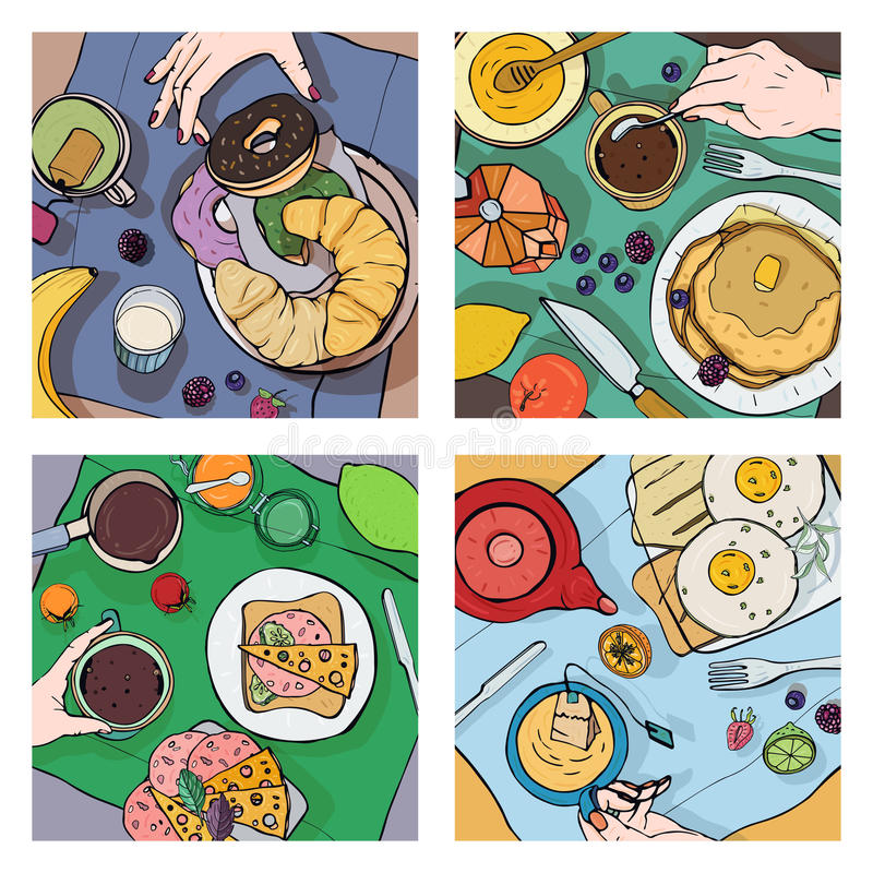 Set of different breakfast, top view. Square illustrations with luncheon. Healthy, fresh brunch coffee, tea, pancakes stock illustration