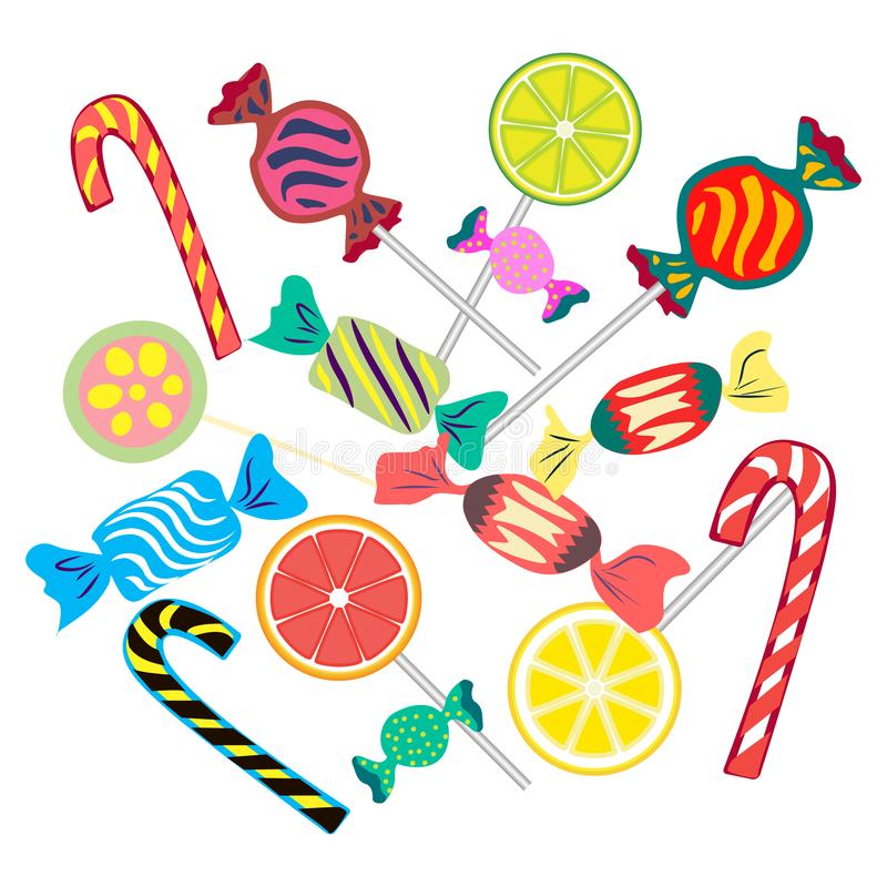 Set from different bright candies royalty free illustration