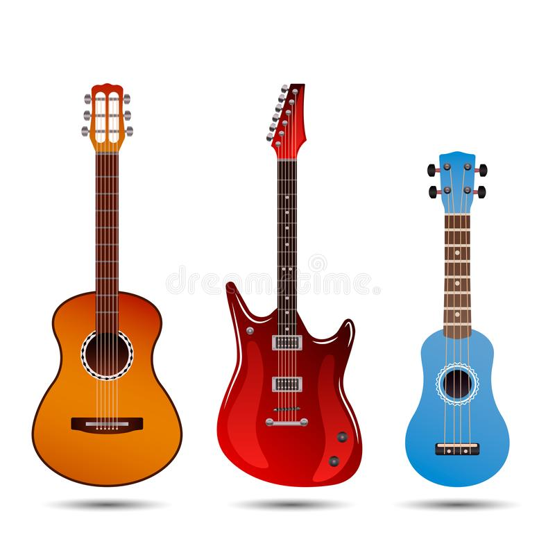 Set of different bright realistic guitars. Retro acoustic guitar, electric rock guitar and a little blue ukulele. flat vector vector illustration