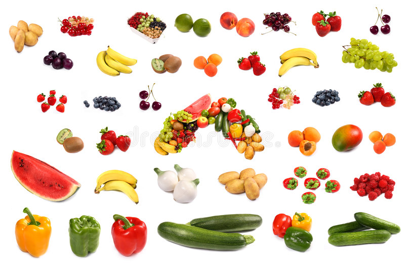 Set of different bright tasty fruits