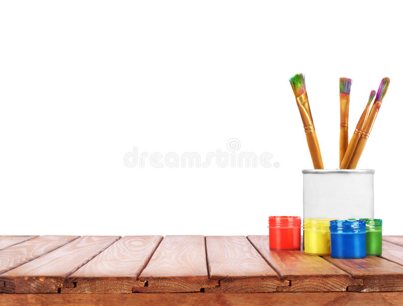 Set of different brushes pencils palette knife royalty free stock photo
