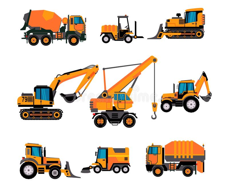 Set of different building equipment on white background. Concrete mixer, wheel loaders, excavator, bulldozer, front loader, stock illustration