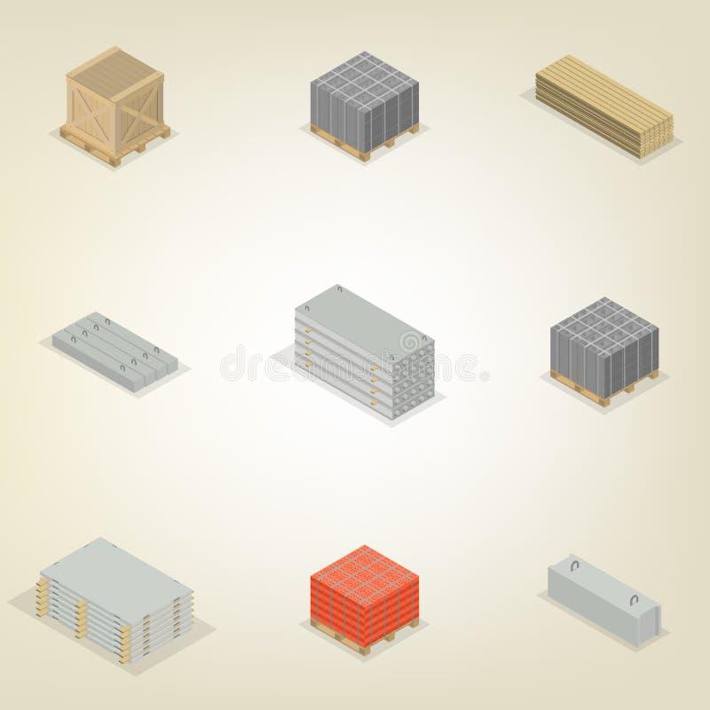 Set of different building materials in 3D, vector illustration. stock illustration