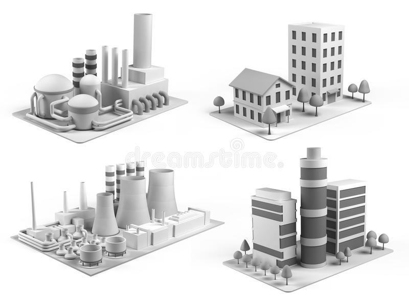 Set of different buildings, office center, powerhouse, factory and dwelling house vector illustration