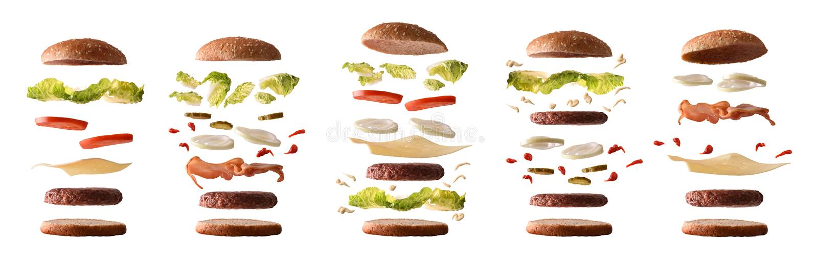 Set of different burgers with ingredients by layers white isolated. Set of different burgers with ingredients separated by layers on white isolated background stock photo
