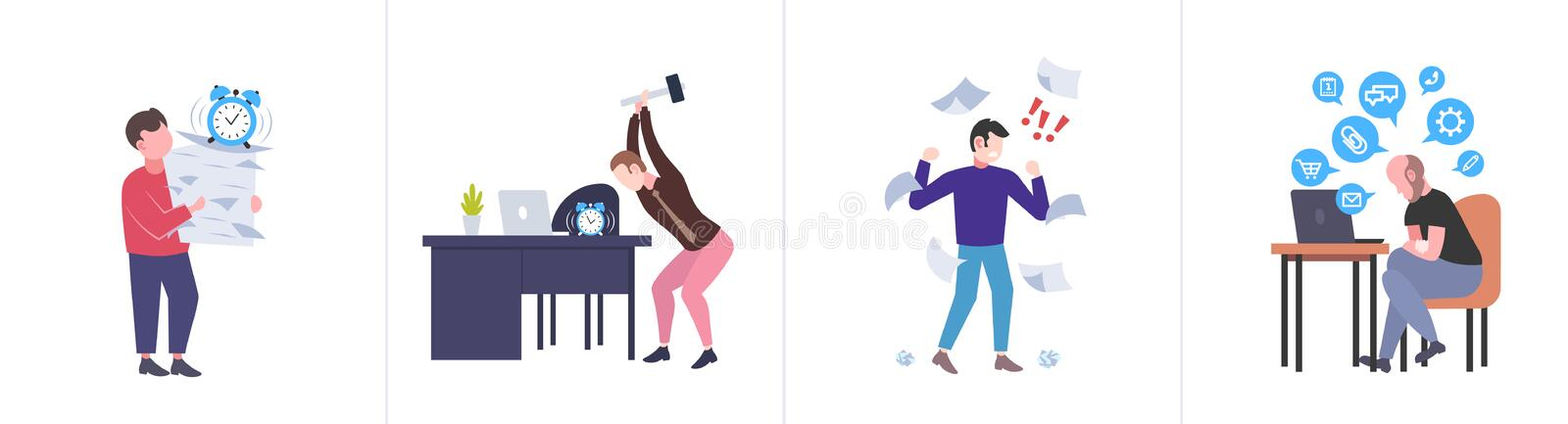 Set different business concepts businesspeople hardworking process concept various working situations horizontal flat stock illustration