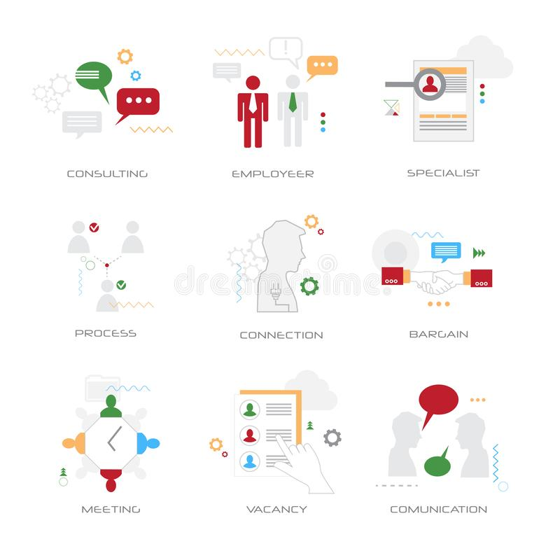 Set different business concepts collection flat style isolated stock illustration