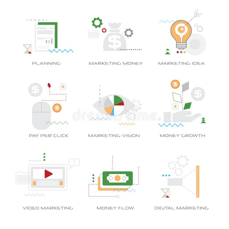 Set different business concepts collection line style isolated vector illustration
