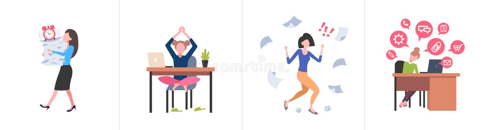 Set different business concepts female businesspeople hardworking process concept various working situations horizontal royalty free illustration