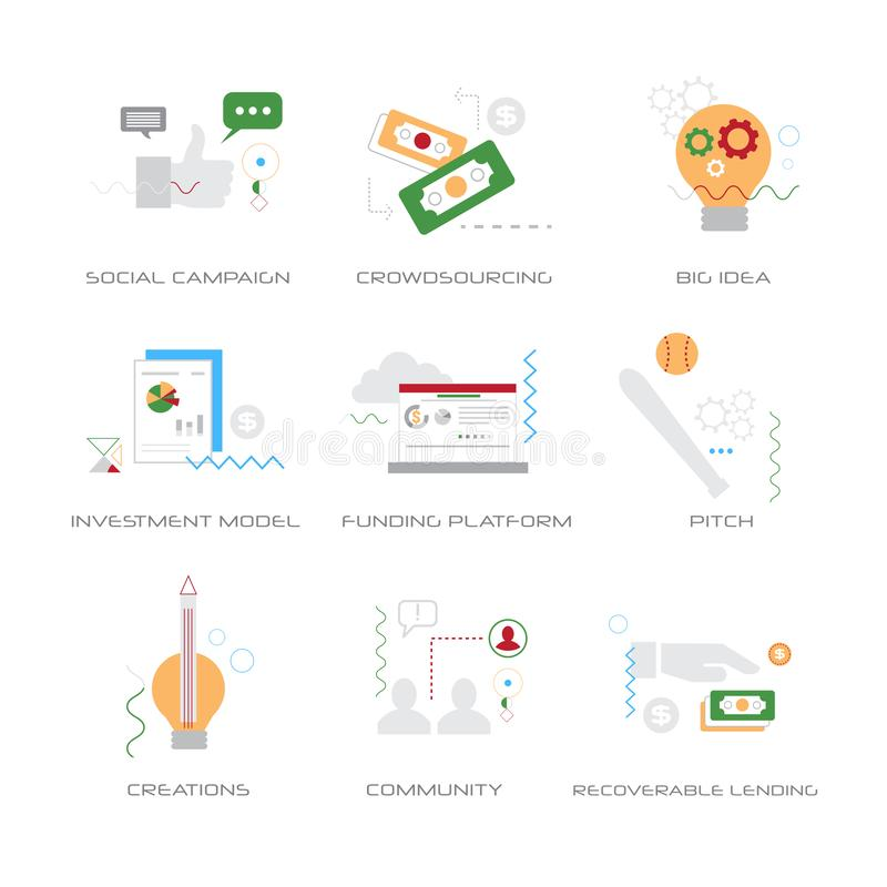 Set different business strategy concepts collection line style isolated royalty free illustration