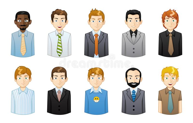 Businessman icons. A set of different businessman icons on a white background