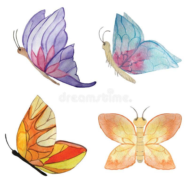 Set of different butterflies on a white background. watercolor illustration for design royalty free illustration