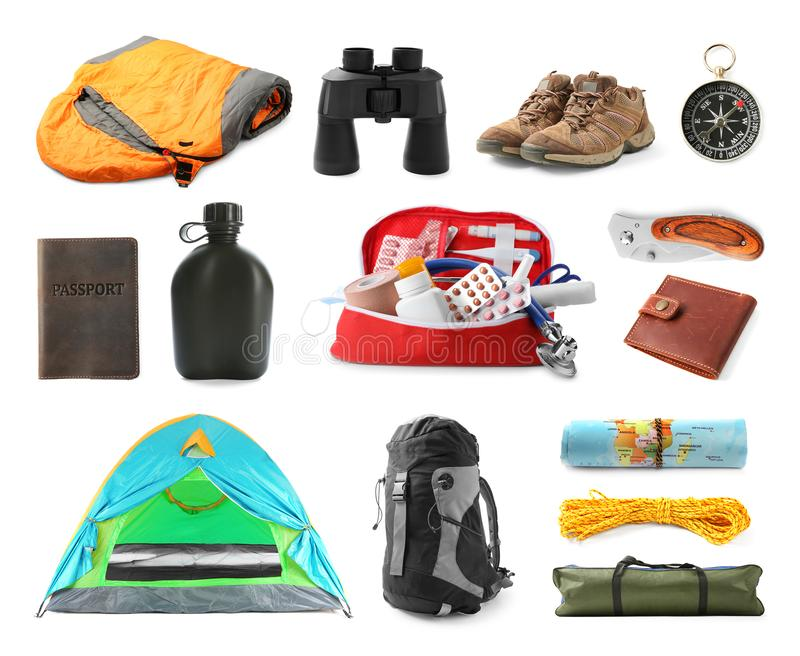 Set with different camping equipment on white. Background royalty free stock image