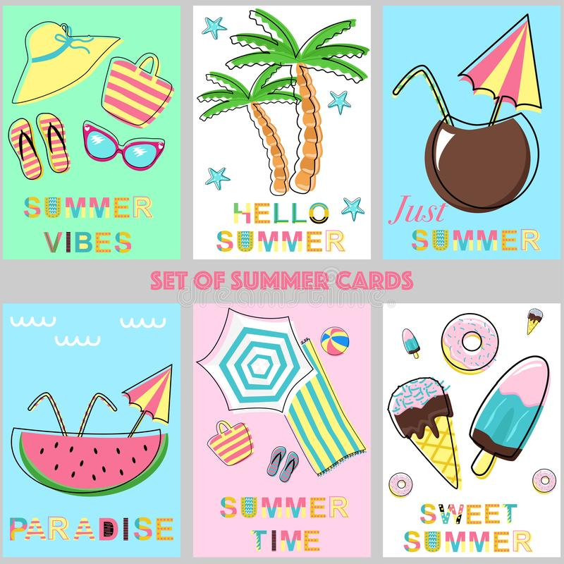 Set of summer cards - vector illustration, eps royalty free illustration