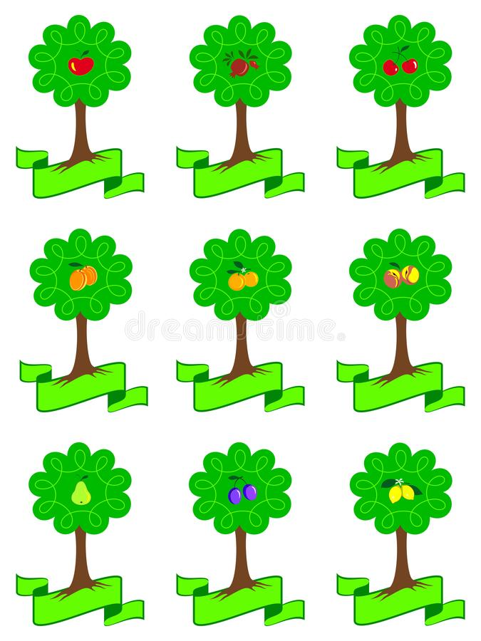 Set of different cartoon fruit trees with ripe fruits and roots isolated on white background. royalty free illustration