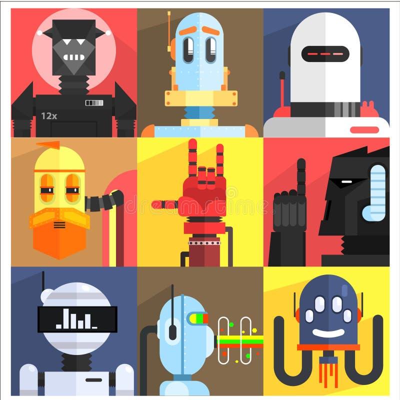 Set Of Different Cartoon Robots stock illustration
