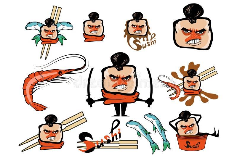 Set of different cartoon sushi elements. Cartoon sushi logo. Sushi lettering. Vector artwork royalty free illustration