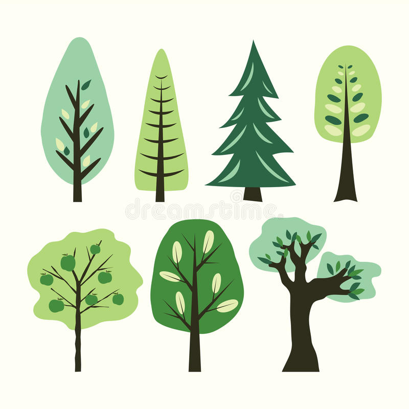 A set of different cartoon trees. Vector. Illustration vector illustration