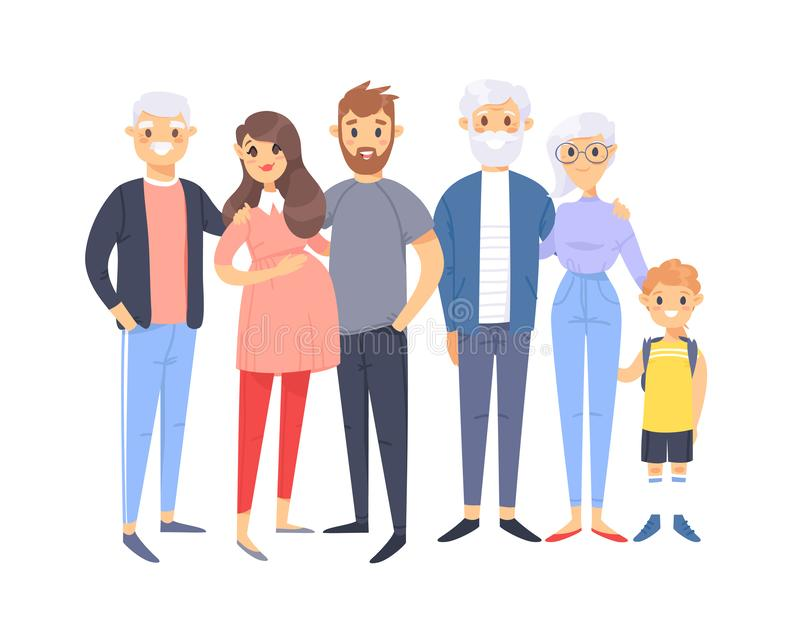 Set of different caucasian couples and families. Cartoon style people of different ages young and elderly, with baby, boy, girl royalty free illustration