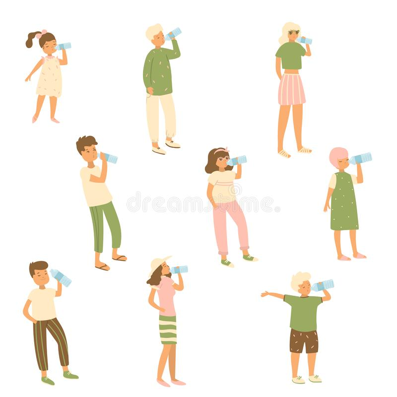 Set of different characters kid, woman, man that drinks water from bottle royalty free illustration