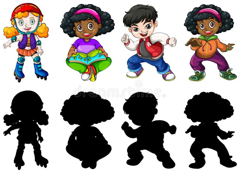 Set of different children vector illustration