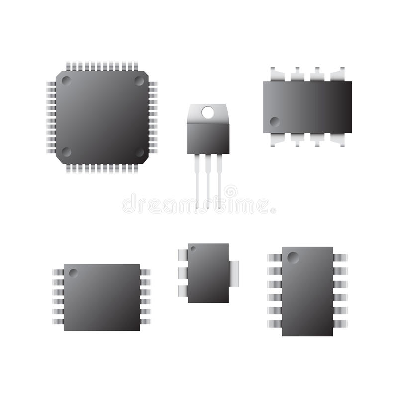 Set of different chips on a white background. A set of chips on a white background. Image of different types of chips. Electronics vector illustration