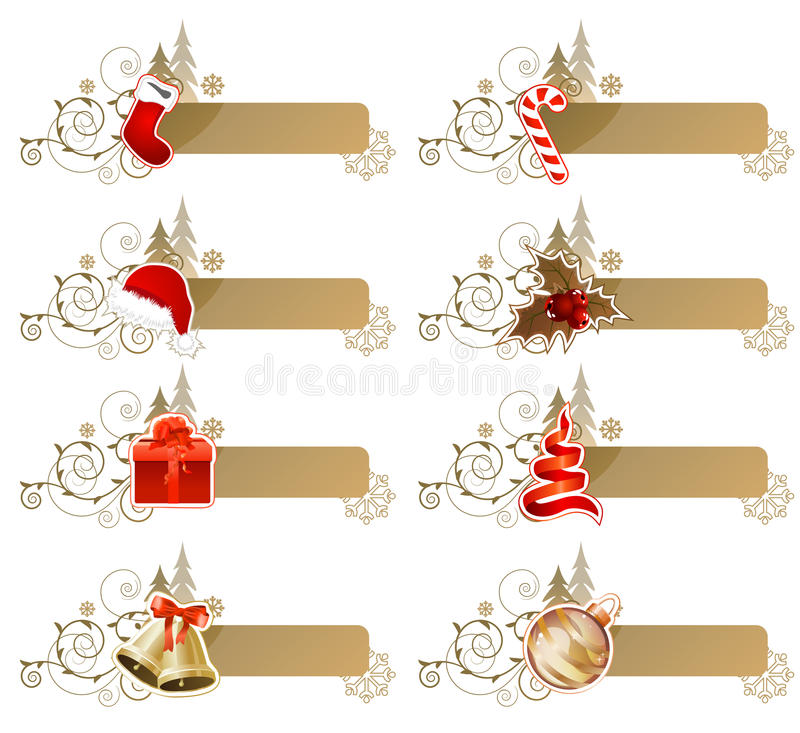 Set Of Different Christmas Banners Royalty Free Stock Photo