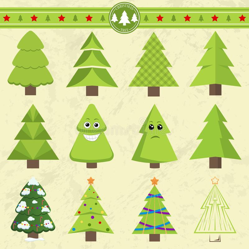 Set of different Christmas trees. Can be used for greeting cards, invitations, banners. Funny Christmas tree with a face vector illustration