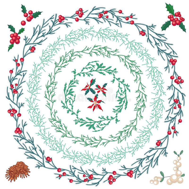 Set of different Christmas wreathes. stock illustration