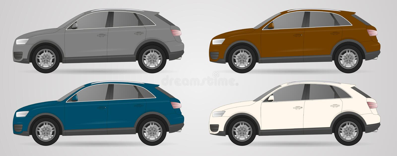 Set of different color car, realistic car models royalty free illustration