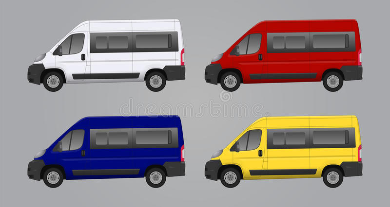 Set of different color car, realistic car models. For web or print, logo, symbol, icon or design can be used in field of motor repairing service, car washing royalty free illustration
