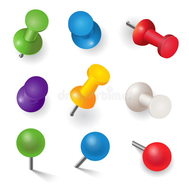 Set of different color pins royalty free illustration