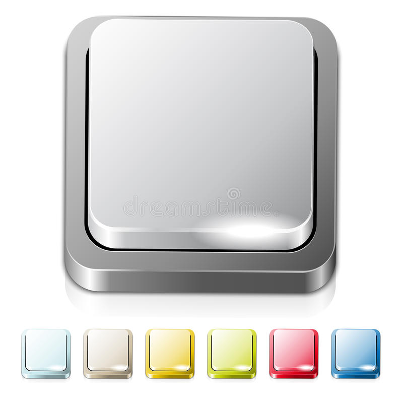 Set of different colored metal buttons. Place for text or icon royalty free illustration